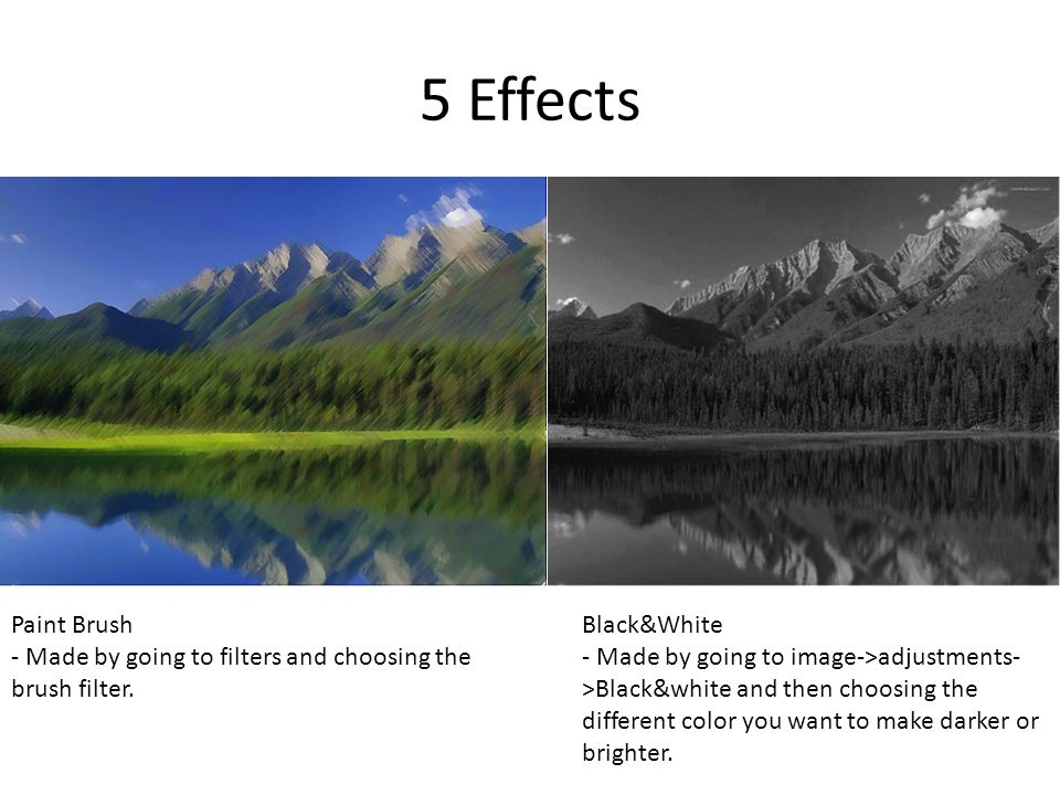 5 Effects Paint Brush - Made by going to filters and choosing the brush filter.