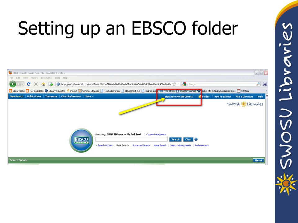 Setting up an EBSCO folder