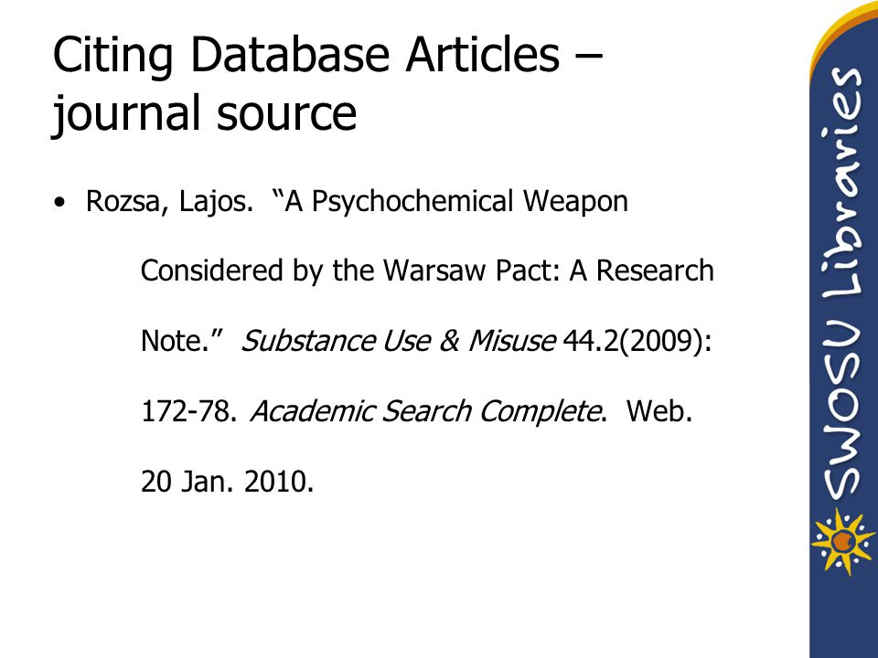 Citing Database Articles – journal source Rozsa, Lajos.