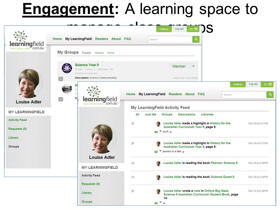 Engagement: A learning space to manage class groups