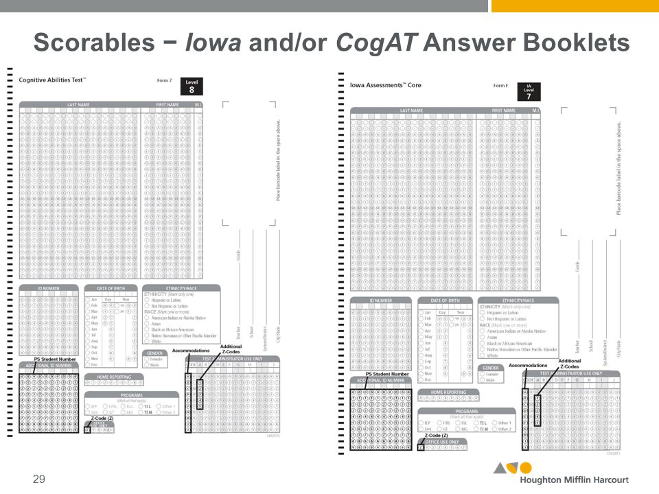 Scorables − Iowa and/or CogAT Answer Booklets 29