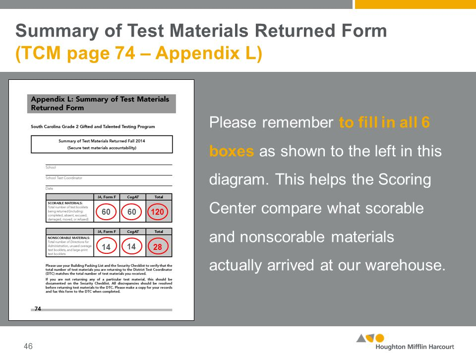 Summary of Test Materials Returned Form (TCM page 74 – Appendix L) 46 Please remember to fill in all 6 boxes as shown to the left in this diagram.