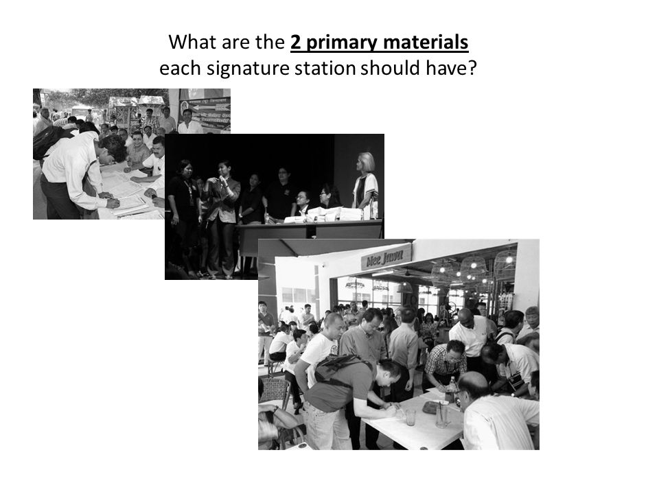What are the 2 primary materials each signature station should have?