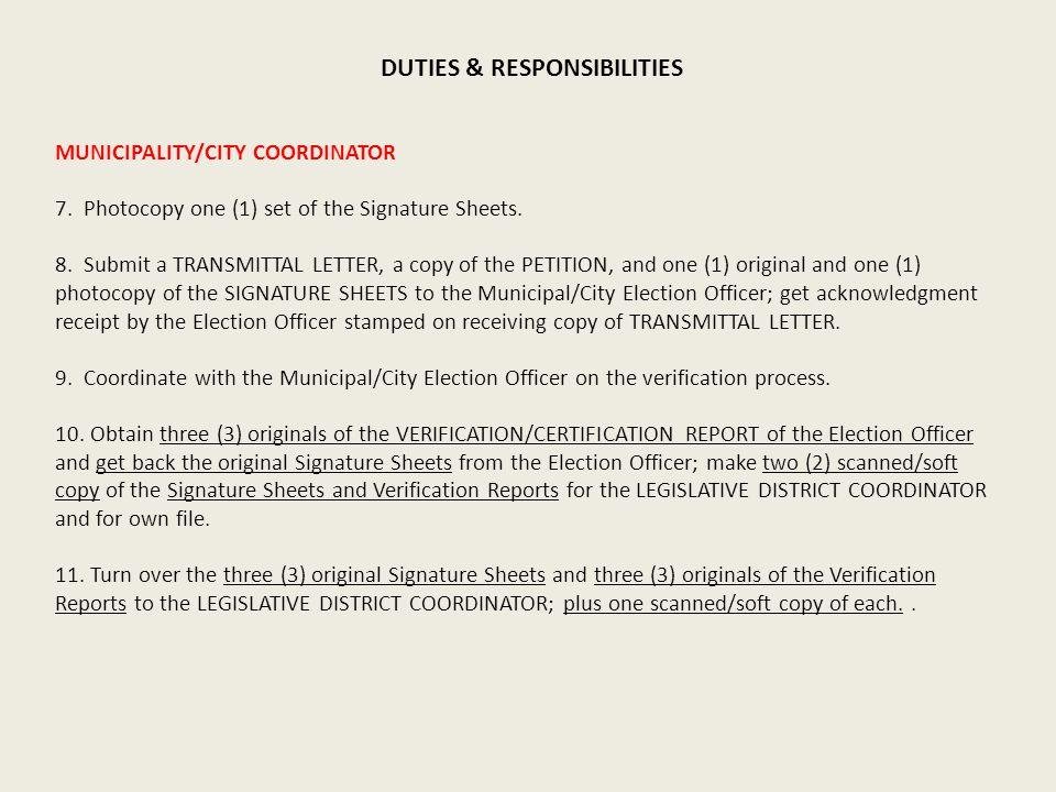 MUNICIPALITY/CITY COORDINATOR 7. Photocopy one (1) set of the Signature Sheets.