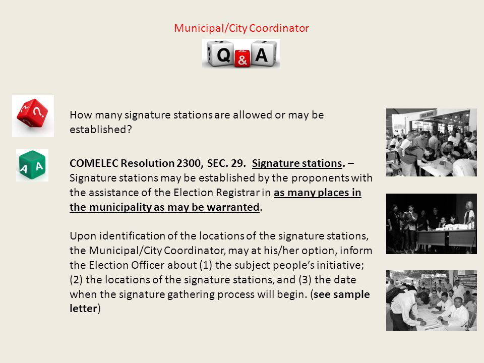 A A How many signature stations are allowed or may be established.