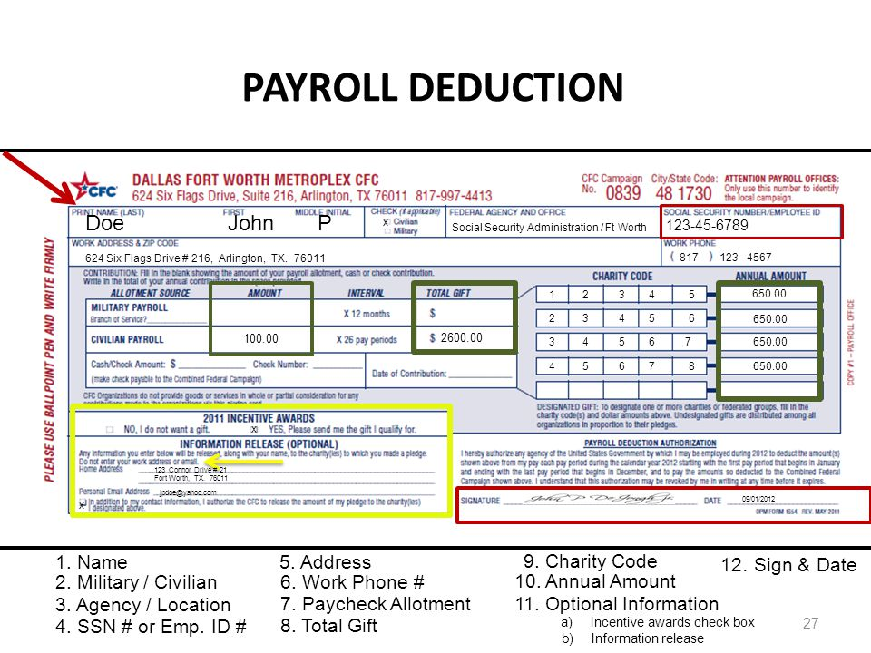 PAYROLL DEDUCTION 27 Doe John P Social Security Administration / Ft Worth 123-45-6789 624 Six Flags Drive # 216, Arlington, TX. 76011 817 123 - 4567 1