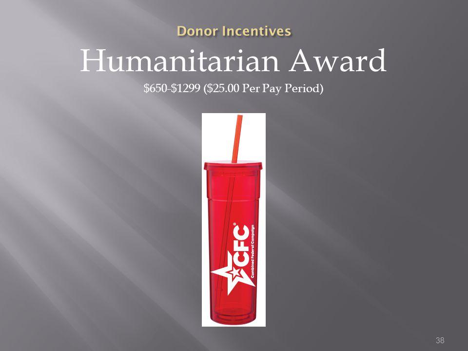 Humanitarian Award $650-$1299 ($25.00 Per Pay Period) 38