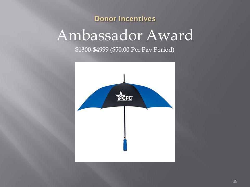 Ambassador Award $1300-$4999 ($50.00 Per Pay Period) 39