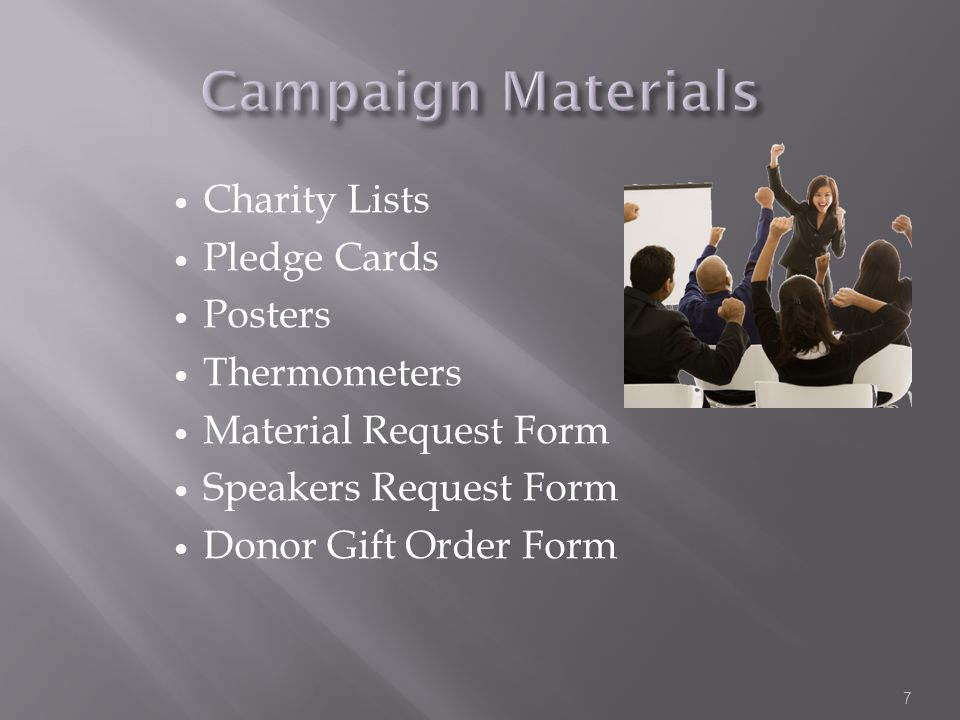 Charity Lists Pledge Cards Posters Thermometers Material Request Form Speakers Request Form Donor Gift Order Form 7