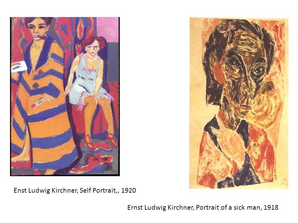 Ernst Ludwig Kirchner, Portrait of a sick man, 1918 Enst Ludwig Kirchner, Self Portrait,, 1920