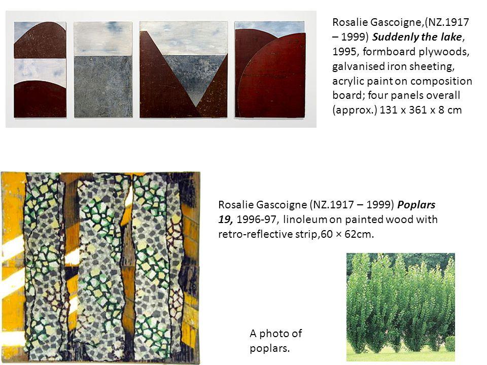 Rosalie Gascoigne (NZ.1917 – 1999) Poplars 19, 1996-97, linoleum on painted wood with retro-reflective strip,60 × 62cm. A photo of poplars. Rosalie Ga