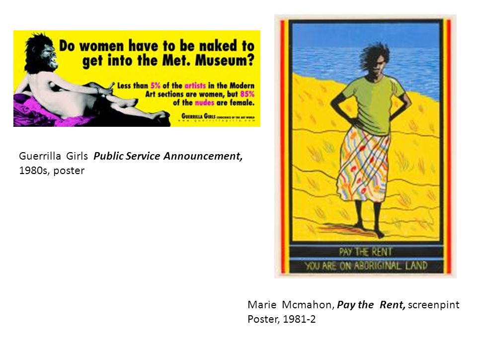 Marie Mcmahon, Pay the Rent, screenpint Poster, 1981-2 Guerrilla Girls Public Service Announcement, 1980s, poster