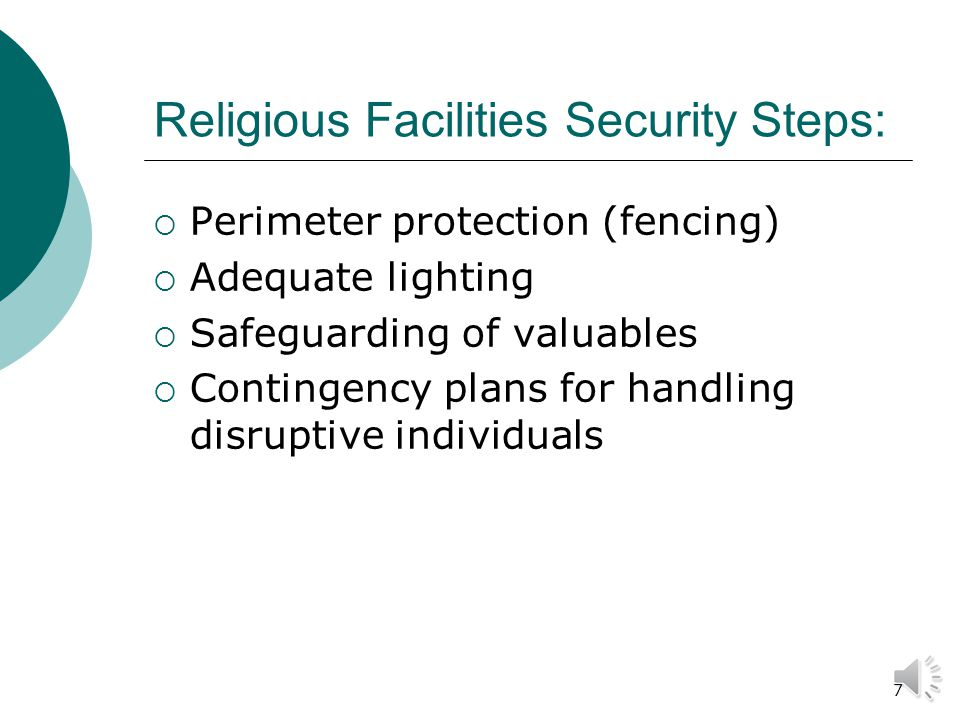 17 Educational Facility Safety Main Security Concerns: Safety of students Safety of faculty/staff Violence Vandalism Theft/burglary
