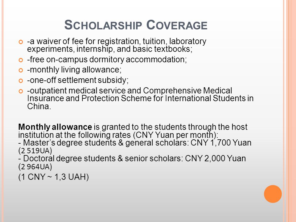 S CHOLARSHIP C OVERAGE -a waiver of fee for registration, tuition, laboratory experiments, internship, and basic textbooks; -free on-campus dormitory