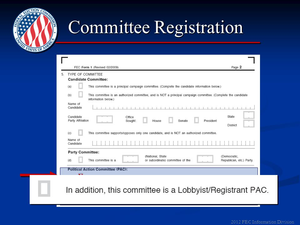 2011 FEC Information Division Committee Registration X X