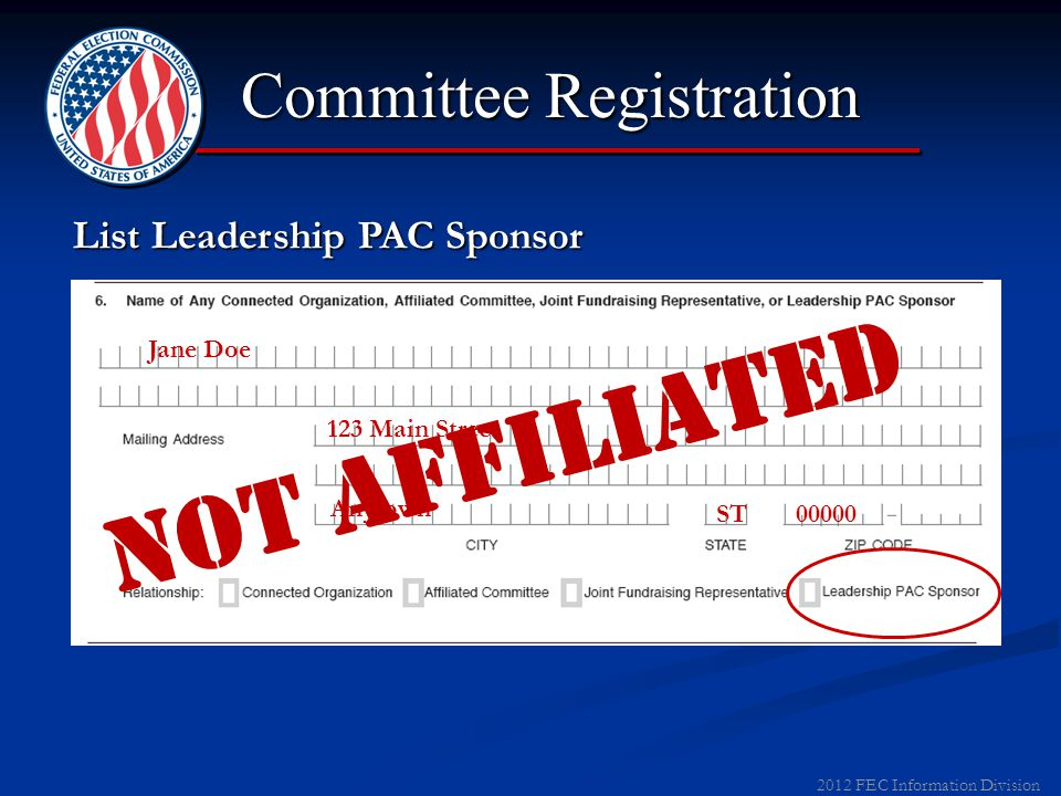 Joint Fundraising Representative can be a participating committee or new committee 2012 FEC Information Division X X Catatonic State Party Committee 0