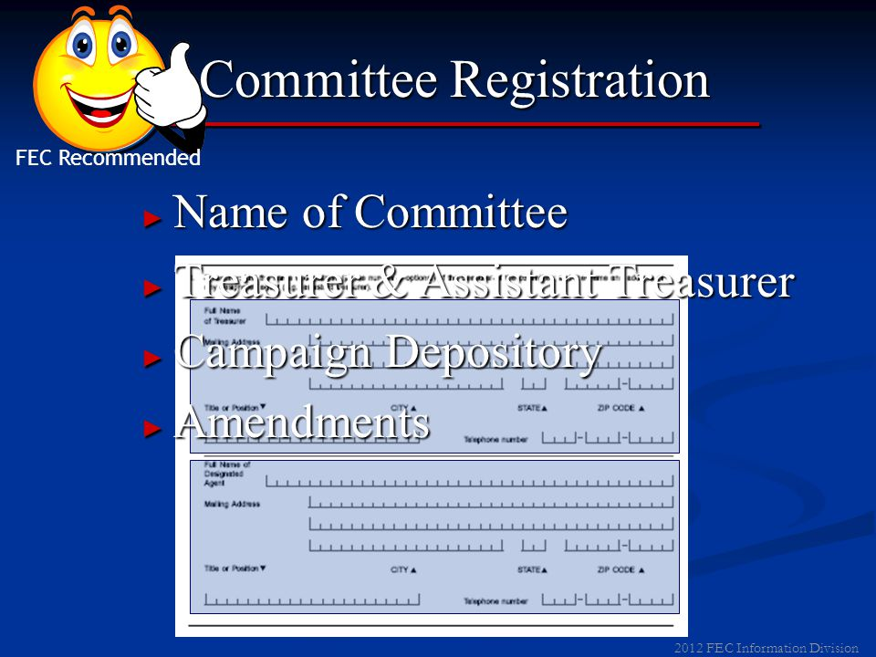 2012 FEC Information Division Committee Registration List Leadership PAC Sponsor Jane Doe 123 Main Street Anytown ST00000 NOT AFFILIATED