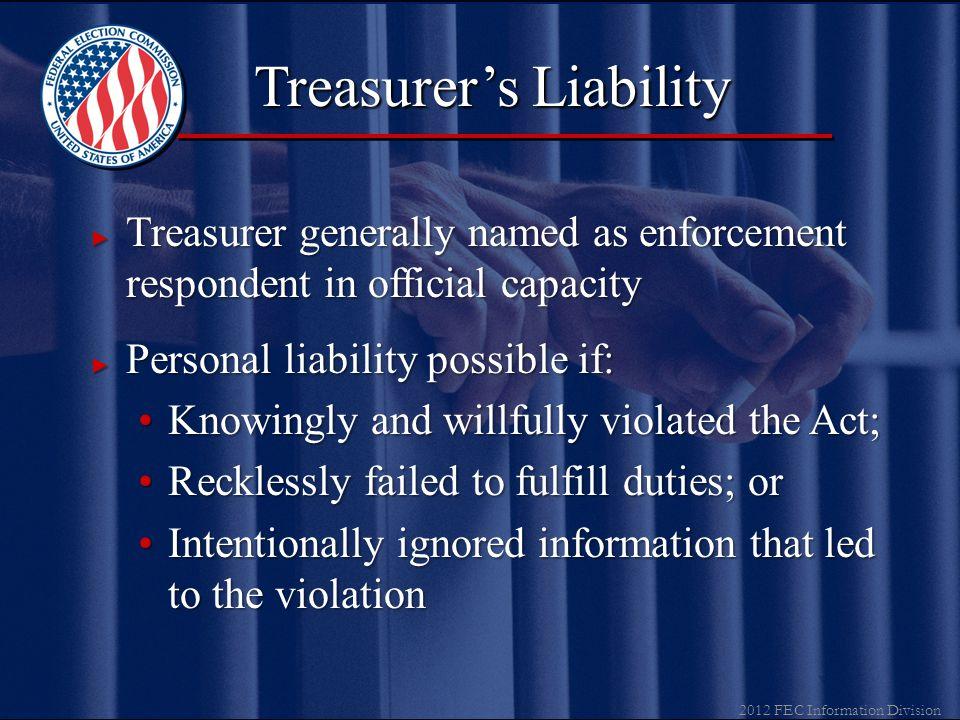 2012 FEC Information Division ▼ Treasurer & Assistant Treasurer Deposits receiptsDeposits receipts Authorizes all expendituresAuthorizes all expenditu