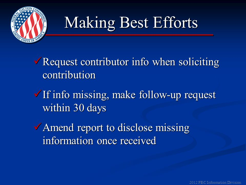 2011 FEC Information Division Recordkeeping Contributions over $50, record: AmountAmount Date receivedDate received Donor's name and addressDonor's na