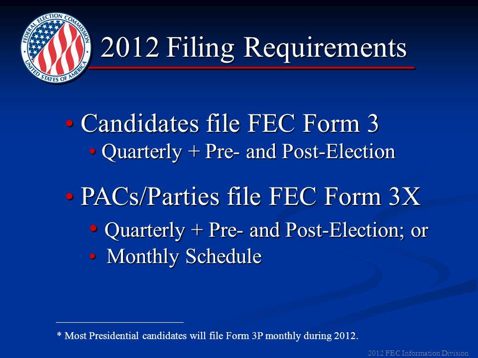 2012 FEC Information Division FEC Welcome Packet FEC Identification NumberFEC Identification Number Campaign GuideCampaign Guide Filing InformationFil