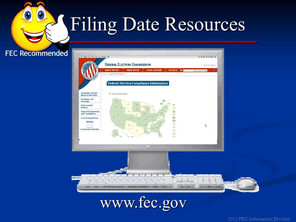 2012 FEC Information Division Filing Date Resources January FEC Record FEC Recommended