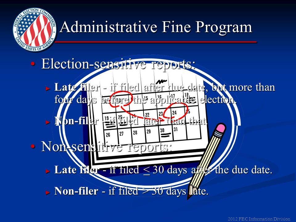 2012 FEC Information Division Administrative Fine Program Civil money penalties for filing late, or not filing at all.Civil money penalties for filing