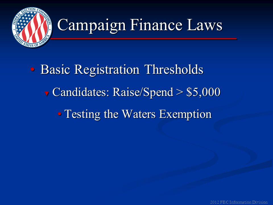 2012 FEC Information Division Campaign Finance Laws Basic Registration ThresholdsBasic Registration Thresholds ► Candidates: Raise/Spend > $5,000 ► Pa