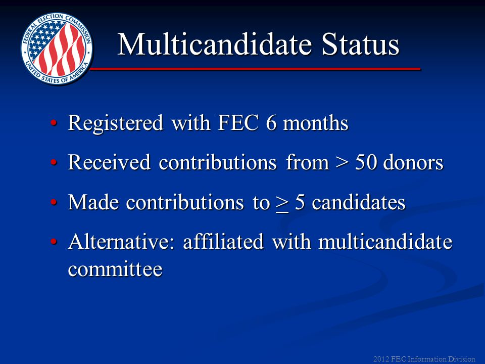 2012 FEC Information Division Limits from PACs For 2011-12 Elections