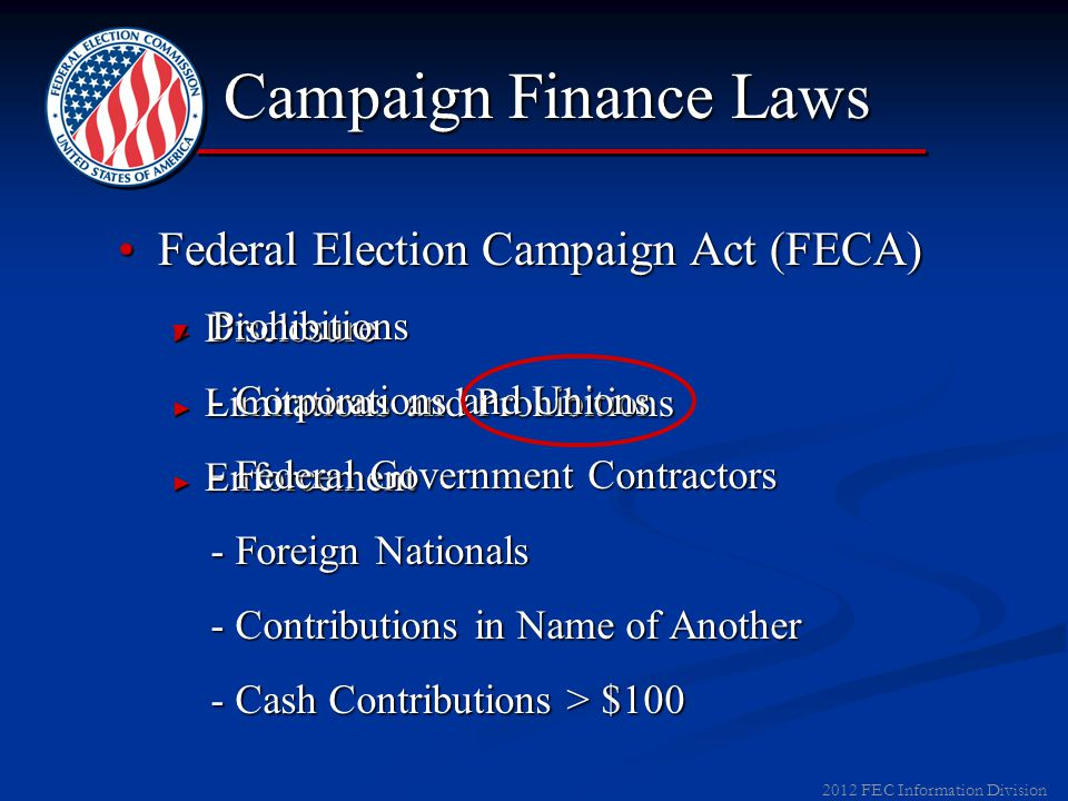 2012 FEC Information Division Biennial Limit $117,000 for 2011-12 <$46,200 to PACs and State/Local Parties $24,600 to National Parties $46,200 to candidates
