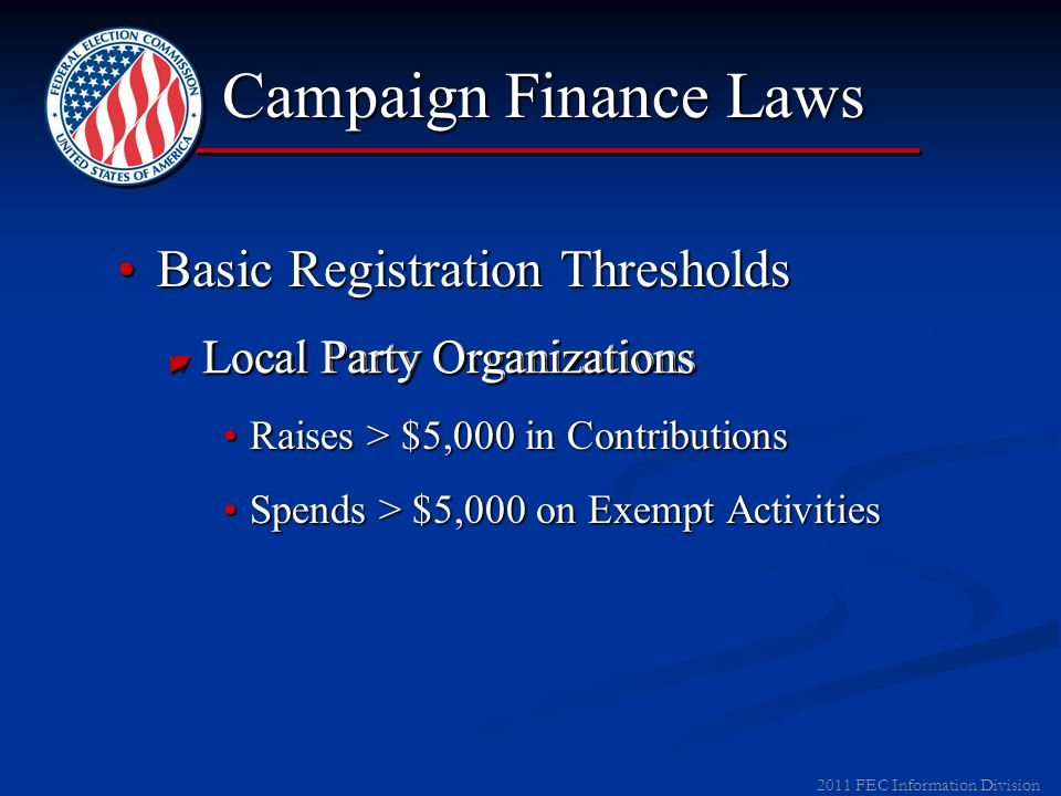 2012 FEC Information Division Basic Registration ThresholdsBasic Registration Thresholds ▼ Candidates: Raise/Spend > $5,000 Testing the Waters Exempti