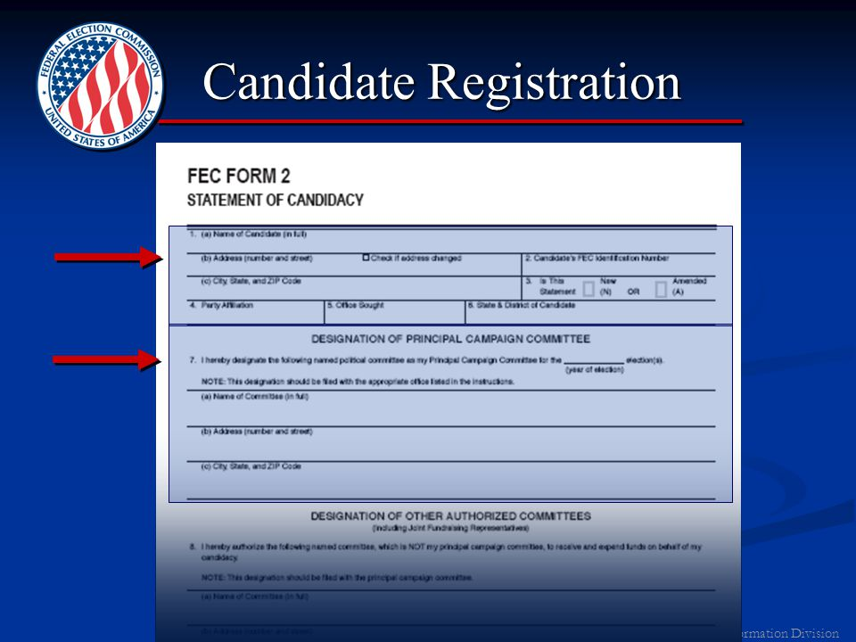 2011 FEC Information Division Registration: First Steps Call FEC Information DivisionCall FEC Information Division 1-800-424-9530 (Press 6) Contact IRS to get Tax ID NumberContact IRS to get Tax ID Number 1-800-TAX-FORM (Form SS4) Open a Bank AccountOpen a Bank Account