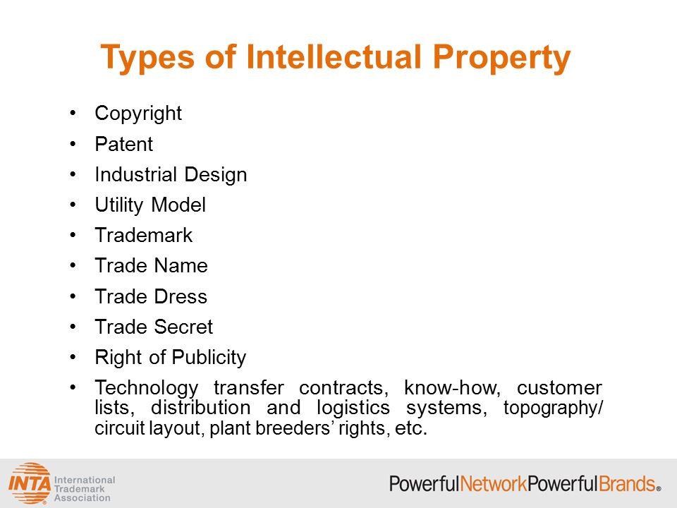 Types of Intellectual Property Copyright Patent Industrial Design Utility Model Trademark Trade Name Trade Dress Trade Secret Right of Publicity Technology transfer contracts, know-how, customer lists, distribution and logistics systems, topography/ circuit layout, plant breeders' rights, etc.