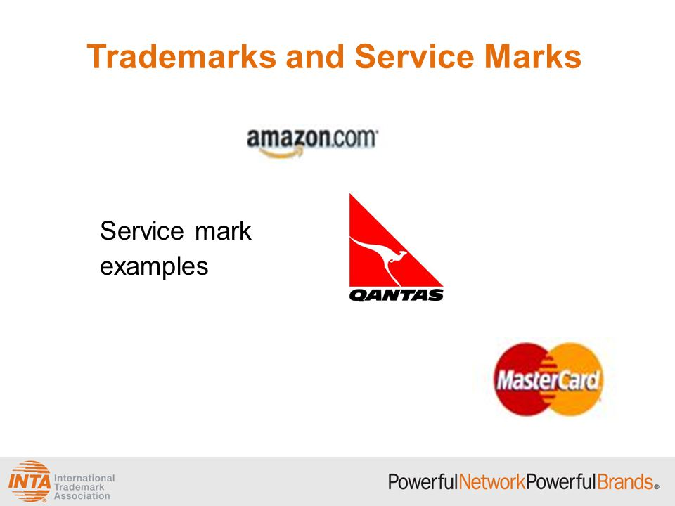 Trademarks and Service Marks Service mark examples
