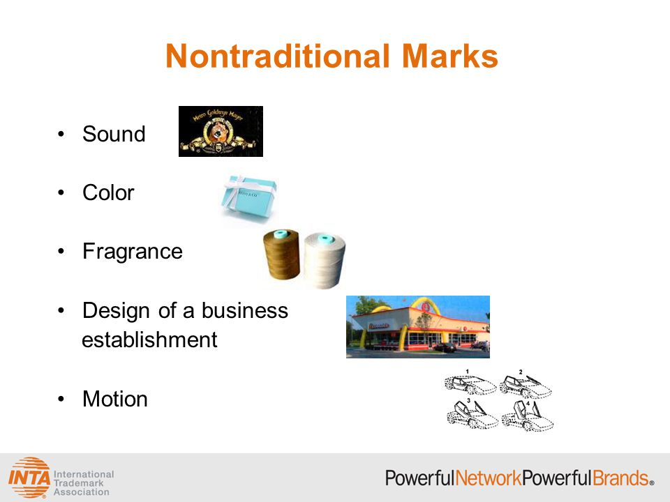 Nontraditional Marks Sound Color Fragrance Design of a business establishment Motion