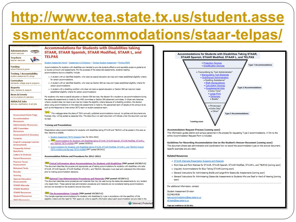 http://www.tea.state.tx.us/student.asse ssment/accommodations/staar-telpas/