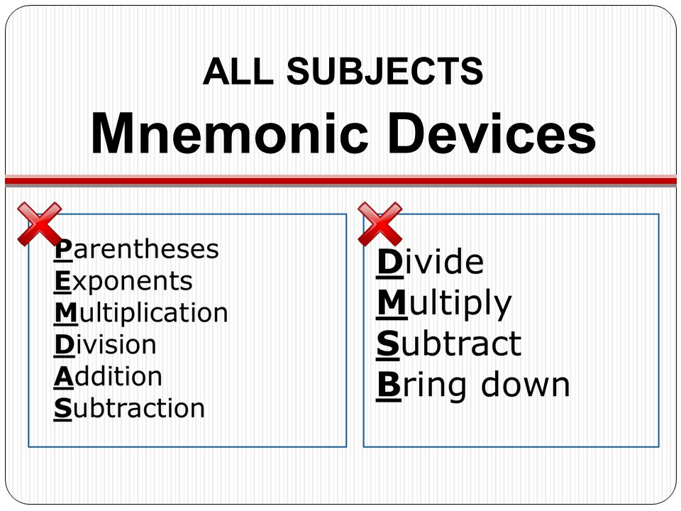 Mnemonic Devices ALL SUBJECTS