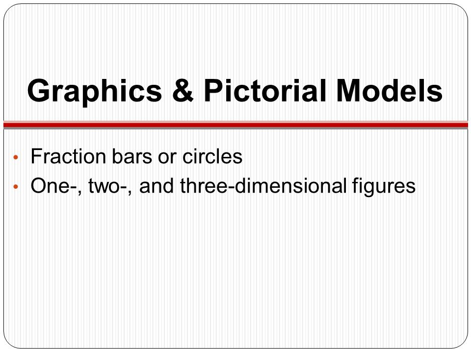 Graphics & Pictorial Models Fraction bars or circles One-, two-, and three-dimensional figures