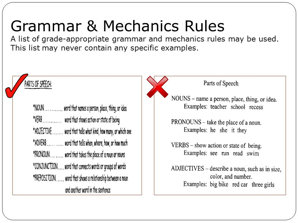 Grammar & Mechanics Rules A list of grade-appropriate grammar and mechanics rules may be used.