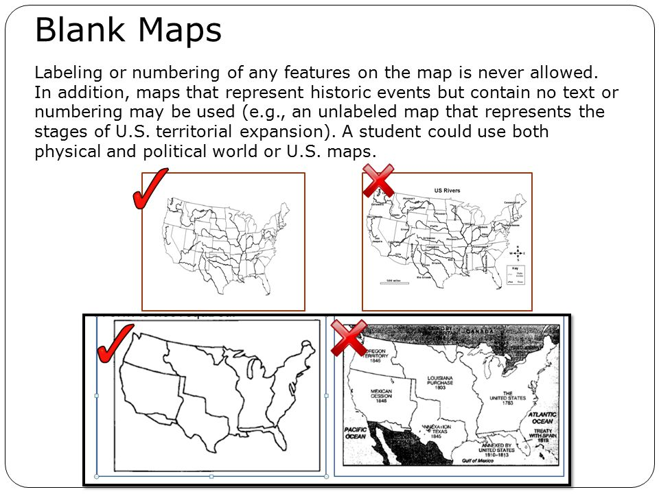 Labeling or numbering of any features on the map is never allowed.