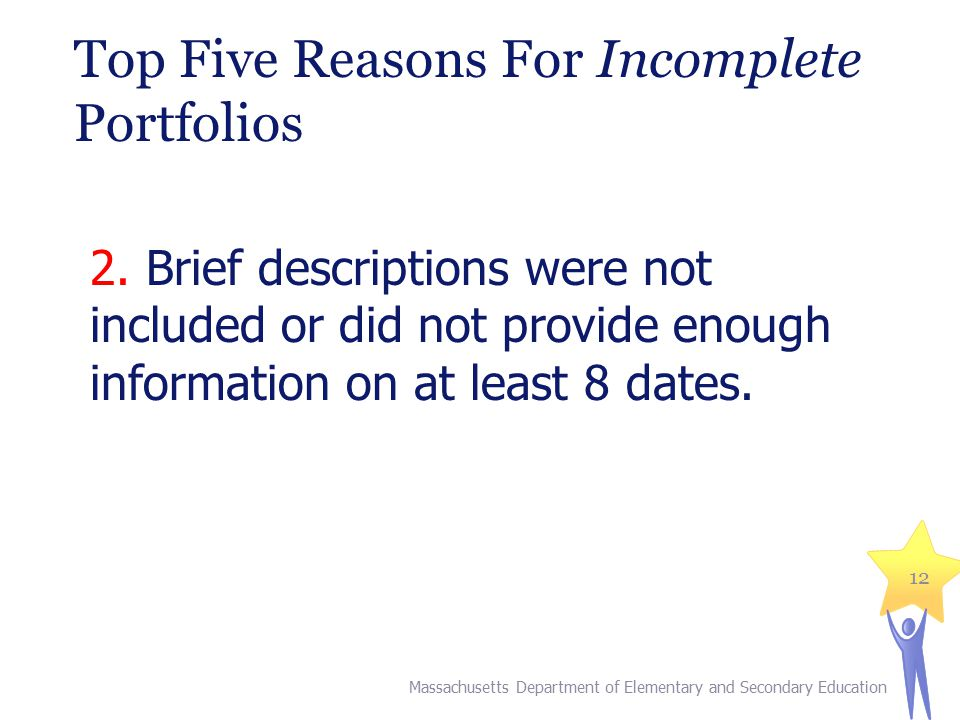 Top Five Reasons For Incomplete Portfolios 2.