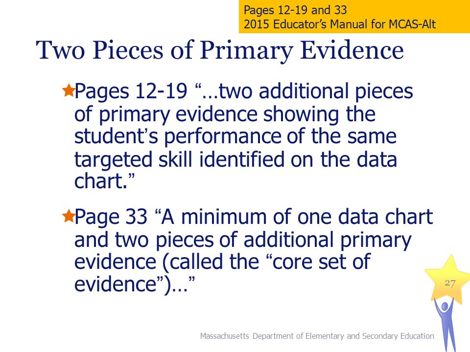  Pages 12-19 …two additional pieces of primary evidence showing the student's performance of the same targeted skill identified on the data chart.  Page 33 A minimum of one data chart and two pieces of additional primary evidence (called the core set of evidence )… 27 Massachusetts Department of Elementary and Secondary Education Pages 12-19 and 33 2015 Educator's Manual for MCAS-Alt Two Pieces of Primary Evidence