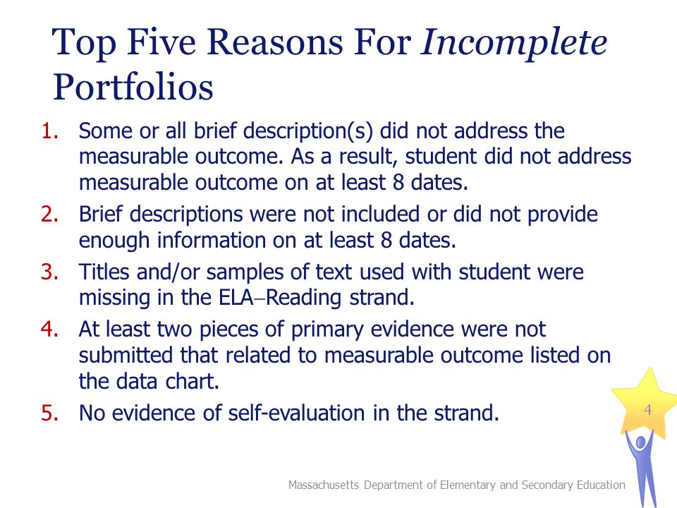 Top Five Reasons For Incomplete Portfolios 1.Some or all brief description(s) did not address the measurable outcome.
