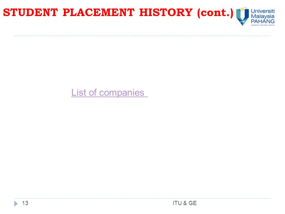 13 STUDENT PLACEMENT HISTORY (cont.) ITU & GE List of companies