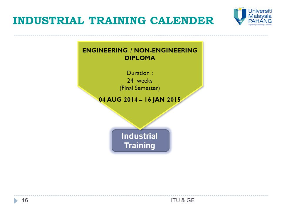 16 INDUSTRIAL TRAINING CALENDER 16 ENGINEERING / NON-ENGINEERING DIPLOMA Duration : 24 weeks (Final Semester) 04 AUG 2014 – 16 JAN 2015 ENGINEERING / NON-ENGINEERING DIPLOMA Duration : 24 weeks (Final Semester) 04 AUG 2014 – 16 JAN 2015 Industrial Training ITU & GE