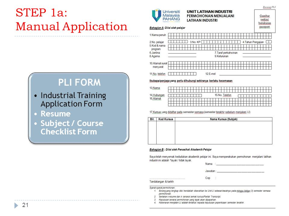 21 ITU & GE PLI FORM Industrial Training Application Form Resume Subject / Course Checklist Form STEP 1a: Manual Application