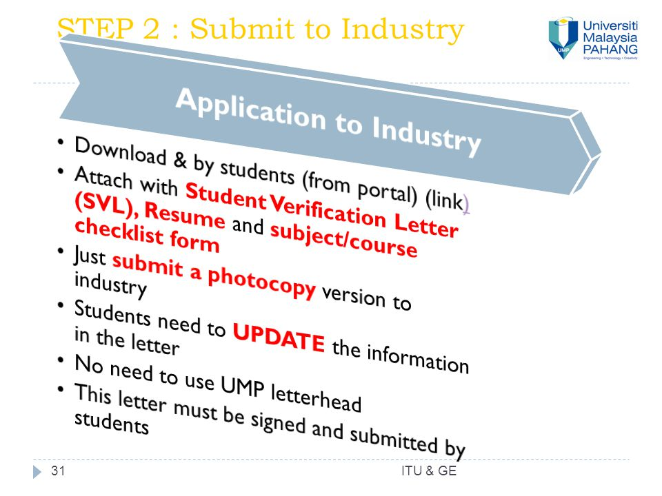 31 STEP 2 : Submit to Industry ITU & GE
