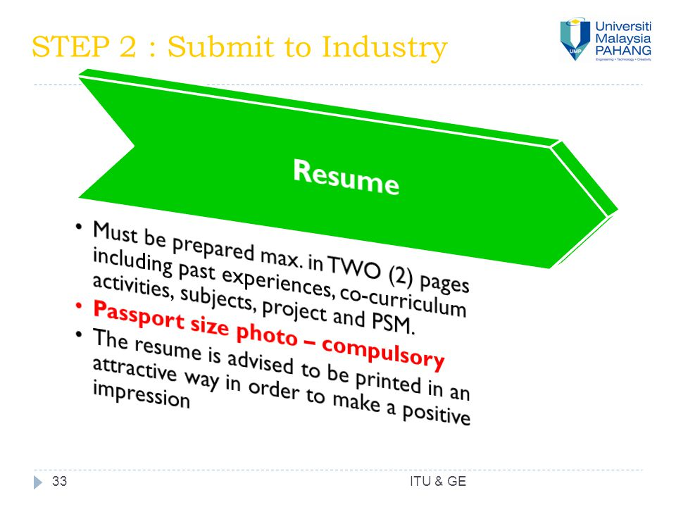 33 STEP 2 : Submit to Industry ITU & GE
