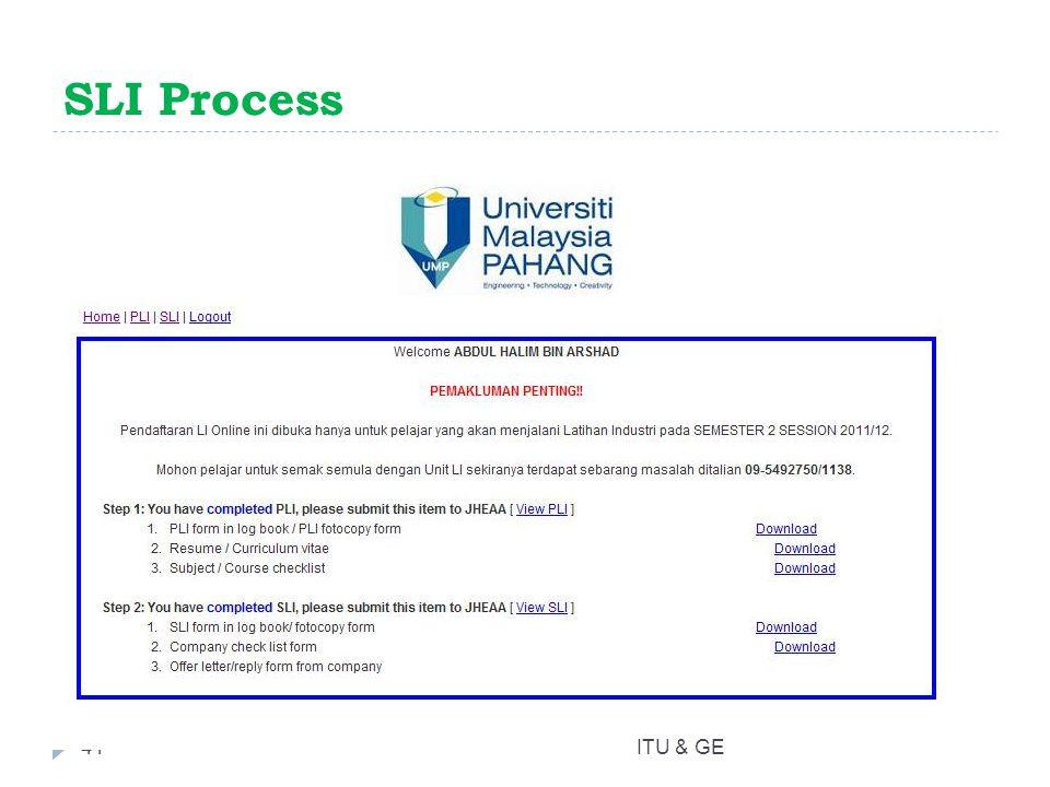 SLI Process 41ITU & GE