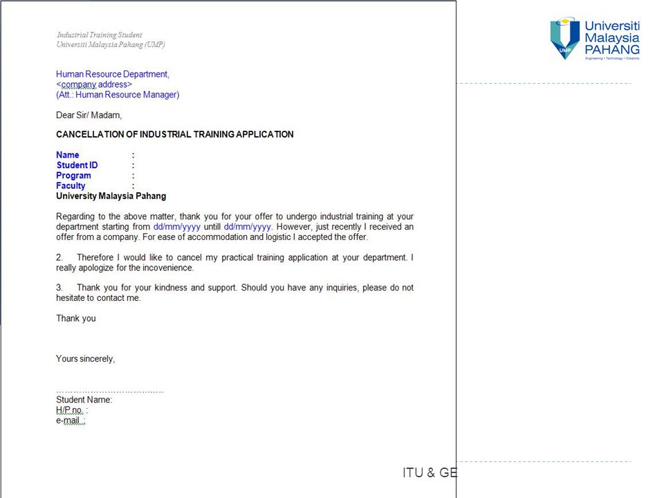 44 REJECTION LETTER (RL) ITU & GE