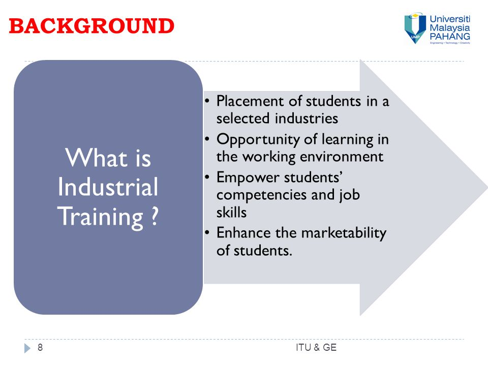 BACKGROUND 8 Placement of students in a selected industries Opportunity of learning in the working environment Empower students' competencies and job skills Enhance the marketability of students.